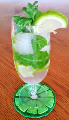 Mojito with Lime Applique Coaster